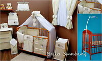 8 pcs BABY BEDDING SET /BUMPER/CANOPY /HOLDER to fit COT or COT BED CREAM