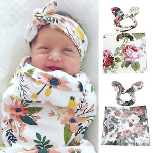 Floral Infant Cotton Swaddle Wrap Blanket Baby Newborn Sleeping Bag + Headband