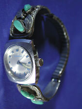 "Navajo ""Justin Moris"" Silver and Turquoise Watch Band Tips Signed"