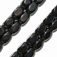 MAGNETIC HEMATITE BEADS FLAT RICE SHAPE OVAL HIGH POWER 5X8MM BEAD STRANDS HP12