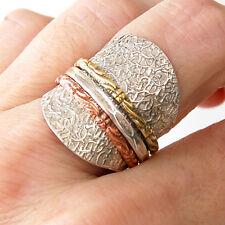 # R659  Bague Méditation Argent Massif 925 Trois anneaux mobiles t54