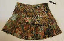 Skirt Size 9 A Byer Womens Juniors Brown White Orange Yellow Mini NEW WITH TAGS