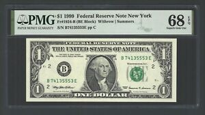 United State - Federal Reserve 1$ 1999 Fr1924-B(BE Block) UNC Grade 68 Top Pop