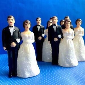 5 Bride and Groom Cake Topper Vintage Plastic