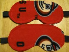 2 Masks Sleep Eye Travel Blindfold Dark New Aid Shade Fleece red ohio buckeyes