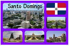 SANTO DOMINGO, DOM REP - SOUVENIR NOVELTY FRIDGE MAGNET - FLAGS / SIGHTS / GIFTS
