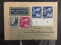1953 Eisenach East Germany DDR Airmail Letter Cover to Fair Lawn NJ USA B