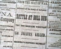 Confederate BATTLE OF BULL RUN Manassas VA Virginia 1861 Civil War Old Newspaper