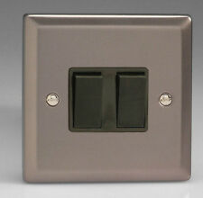 Varilight 2 Gang Light Switch - Pewter with Black Rockers - 10A - 1 or 2 Way