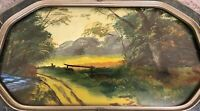 Original Painting On Board In Antique Frame With Convex Glass