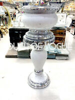 Silver Pearl Glitter Mirrored Table Flower Vase Stand Bed Side Romany Mosaic