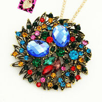 Colorful Crystal Round Flower Pendant Chain Betsey Johnson Necklace/Brooch Pin