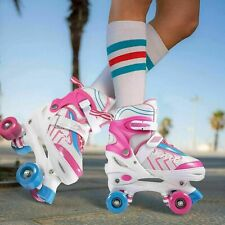 New listing Kids Adjustable Size Roller Skates Double Row PVC Wheel Mesh Breathable Skate A`