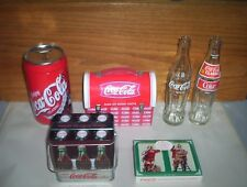 6 Coca-Cola Collectables Lot Coke Playing Cards Santa + Tin Lunchbox & 2 Bottles