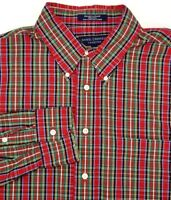 Daniel Cremieux Long Sleeve Shirt Size L Large Red Yellow Blue Plaid 100% Cotton