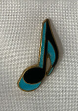 """Vtg Blue Eighth Note 80s Enamel Lapel Pin 1"""" MADE USA"""