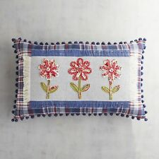 Pier 1 Imports Lumbar Pillow Red White Plaid Appliqued Flowers Nautical New
