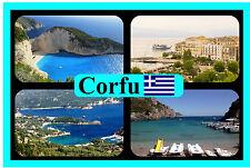 CORFU, GREEK ISLANDS, GREECE - SOUVENIR NOVELTY FRIDGE MAGNET - SIGHTS / GIFTS