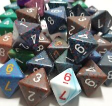 Chessex (5) D8 Random Color Polyhedral Dice Set 8 Sided, Lot Gaming D&D RPG