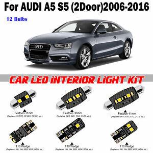 12 Bulbs Bright White LED Interior LED Kit For Audi A5 B8 2door 2006-2016 Lamps