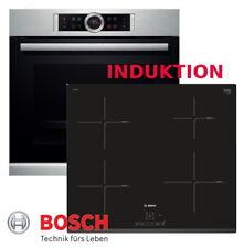 Bosch Herdset Induktion Herd Autark Backofen Silber + Induktion Kochfeld Neu/OVP