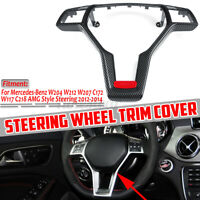 Carbon Fiber Steering Wheel Trim Cover For Mercedes W204 W212 W117 C172 C218 AMG
