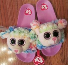 a75081ee236 TY BEANIE BOO s SLIDES~RAINBOW Lamb~GIRL s Size 2 3~NEW w