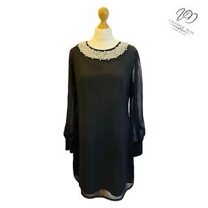 Rise Size 16 Women Relaxed Dress Black Mesh Beads Neck Area Gorgeous