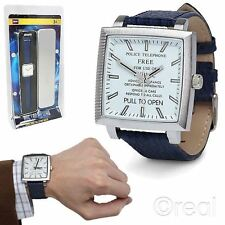 New Doctor Who TARDIS Wrist Watch w/ Leather Strap Adult Collector's Official
