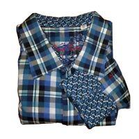 Robert Graham Mens Button Front Shirt Blue Plaid Long Sleeve 100% Cotton 3XL