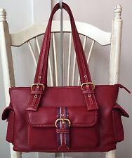 """*NWOT* the SAK Red Leather Satchel Handbag Shoulder Bag Tote Nylon Trim 14"""" x 8"""""""
