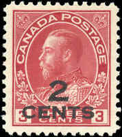 Mint NG Canada VF Scott #140 Provisional 2c on 3c 1926 KGV Admiral Stamp