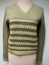 Vtg 70s Esprit Wool Blend Knit Sweater Top V Neck Brown Tan Hong Kong M Euc