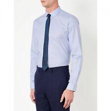 """JOHN LEWIS MEN - NEW - Archer Micro Puppytooth Blue Shirt - Collar 17"""" Tailored"""