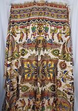 Vintage Woven Silk Fringed Piano Shawl Bed Cover Egyptian Persian India Ethnic
