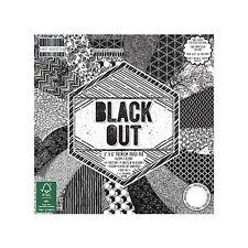LOT 16 FEUILLE CARDSTOCK PAPIER NOIR BLANC BLACK OUT FORMES GEOMETRIQUES SCRAPB