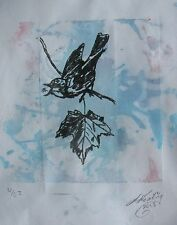 "LYNN KEATING AUSTRALIAN ETCHING ""SINGING BIRD"" HAND PAINTED BLUE BACKGROUND 2013"