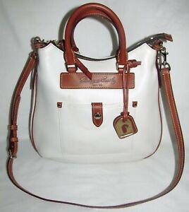 Dooney & Bourke White Dillen Teardrop Hobo Leather Large Shoulder Bag Purse Tote
