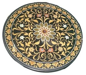 """36"""" Marble Dining Table Top Inlay Rare Semi Round Center Coffee Table AR0876"""