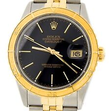Rolex Datejust 2Tone 18k Gold & Steel Thunderbird Turn-O-Graph Watch Black 16253
