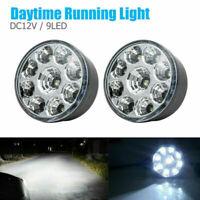 12V 2x 9 LED DRL ROUND DAYTIME RUNNING LIGHTS CAR TAIL FOG DAY DRIVING WHITE