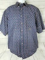 Tommy Hilfiger Mens Large Short Sleeve Floral Button Up 100% Cotton Shirt