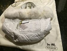 NEW Coach Ltd Ed White Poppy Ski Bunny Bella Quilted Fur LG Tote Bag Purse.