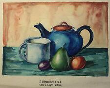 Schmirler acuarela still vida tetera de frutas 1931 estudios trabajo escuela de arte Loket