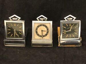 (4) Vintage Metal Ingersoll Mini Travel Pocket Clock Compact (1939 Worlds Fair)