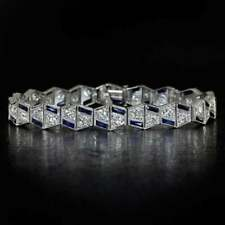 Art Deco 8.00 CT Diamond Sapphire Vintage Bracelet Ladies 14K White Gold Over