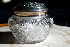 Crystal dresser jar with Sterling Silver top circa 1890