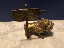 Old French English Bulldog Miniature Brass Figurine Paperweight Beware of Dog