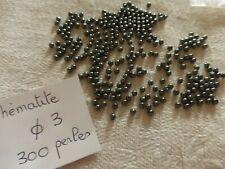 lot  de 300 perles anciennes en hématite diam environ 3 mm ronde lisse