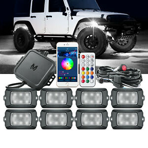 MICTUNING Q1 RGBW LED Rock Lights Underglow Offroad Neon Bluetooth Remote Music